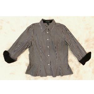 RALPH LAUREN Striped Peplum Button Down Blouse